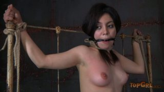 Daring brunette whore Lorna enjoys hardcore action in BDSM scene