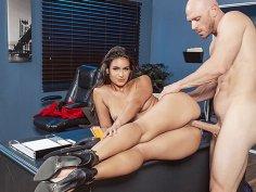 Enticing slut Katana Kombat rides big dick in the office