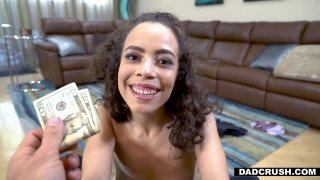 Curly stepdaughter swallows cum for money