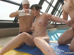 Japanese babe Machiko Ono is learning a blowjob t