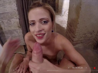 Perverted blonde enjoys hard pussy pounding in a public place