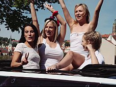 Lesbian babes are having a wild time in a limo