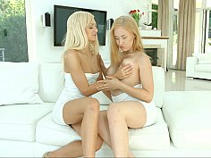 Two blonde Euro lesbians