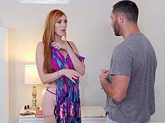 Redhead MILF teasing and seducing her son's friend