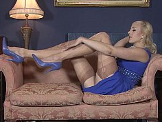 Blonde housewife in vintage lingerie