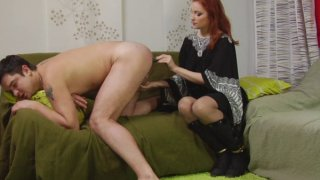 Sexy redhead mature bitch has a special treat for tight male ass hole Thumbnail