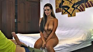 Sofia Nix strokes and sucks his juicy cock