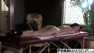 Obedient Megan gets her big butt rubbed by Billy the masseur Thumbnail