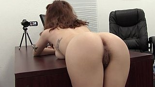 Bent over the desk and fucked her hairy ass Thumbnail