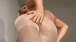 Hot closeup show of hairy vagina and feet in hose Thumbnail