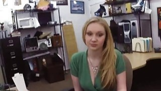 Blonde chick sucks Pawnshop owners cock for a pearl set Thumbnail