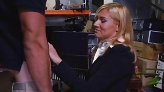 Unhappy blonde MILF sucks Pawnshop owners cock for extra money Thumbnail