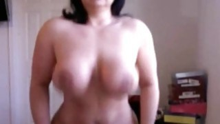 Brunette Busty milf deep riding dildo on webcam Thumbnail