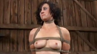 Gagged cutie gets furious whipping on her tits Thumbnail