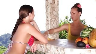 Nicole Aniston gets licked by hot Mia Malkova on a terrace