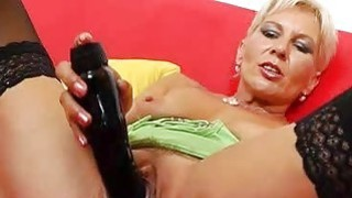 Orgasmic blonde mom playing with herself with toys Thumbnail