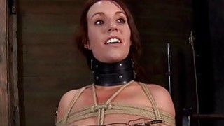 Gagged cutie with clamped nipples receives fun Thumbnail