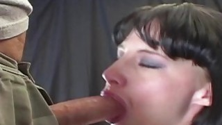 Her eyes water as she gags and deepthroats a big cock Thumbnail