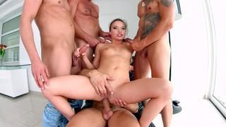 Anita Bellini getting gangbanged by four horny dudes Thumbnail