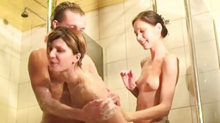 Three horny student sex friends in the shower Thumbnail
