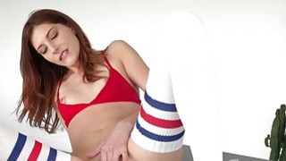 Redhead babe Ashyln Scott is serviced by Johnnies huge cock Thumbnail