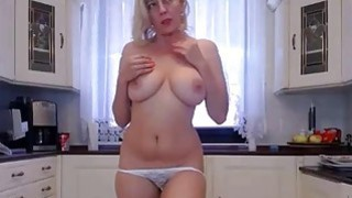 Big tits and juicy ass blonde milf camgirl with vibra toy Thumbnail
