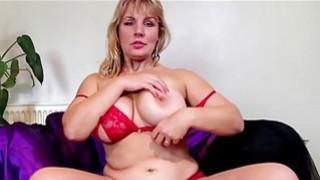 Big natural titted blonde mature masturbating