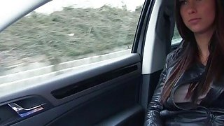 Stranded babe Victoria fucks in the backseat for a ride Thumbnail
