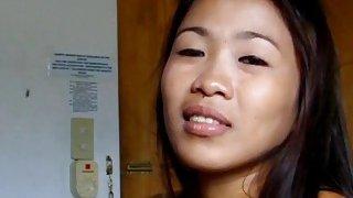A slutty amateur Asian babe sucks stiff rod and gets warm cum on her face