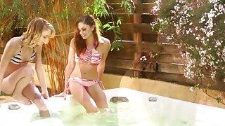 Skinny lesbians Ariana Marie and Dakota Skye is inside the tub licking pussies Thumbnail