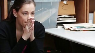 A poor brunette shoplyfter Bobbi Dylan gets banged hard by a horny security guard Thumbnail