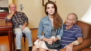 Naughty Old Guys Talk Naive College Girl Into Intense Sex On Bed Thumbnail