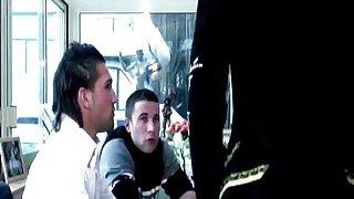A very hot French ebony babe gets banged hard by many white guys Thumbnail