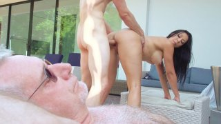 Rachel Starr gets doggystyled while her boyfriend sleeping beside