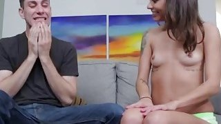 Tattoo brunette striptease exposing her small tits for deep throat blowjob fun game