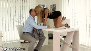 Office slut Angel Piaff gives her employee a raise in his pants Thumbnail