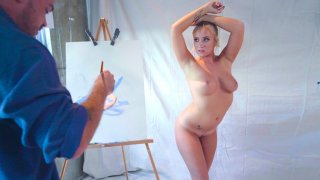 Blonde Bailey Brooke posing for the painter Kyle Mason Thumbnail