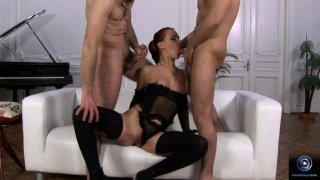 Hot threesome with two hard dicks Thumbnail