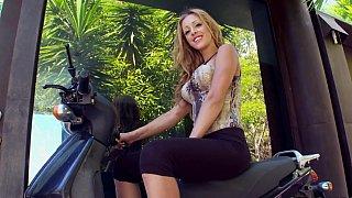 Leggy blonde masturbates and teases Thumbnail