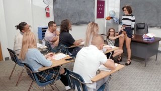 Adriana Chechik and Kimmy Granger suck dildo in the classroom Thumbnail