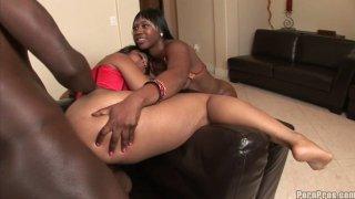 Ebony sluts Royalty & Nikki call ass fucker to drill their anuses Thumbnail