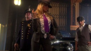 Sexy detective Jessica Drake wants to fuck in threesome on the crime scene Thumbnail