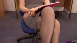 Sexretary in stockings Hannah Z shows off her yummy slit in the office Thumbnail
