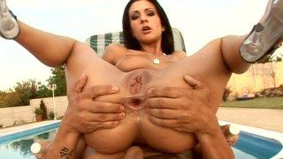 Magnificent brunette vixen Destiny rides dick by the pool Thumbnail