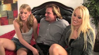 Two kinky whores Alana Evans and Allie James seduce Evan Stone and give him a head Thumbnail
